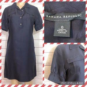 Banana Republic 100% Silk Navy Shift Dress Size 6